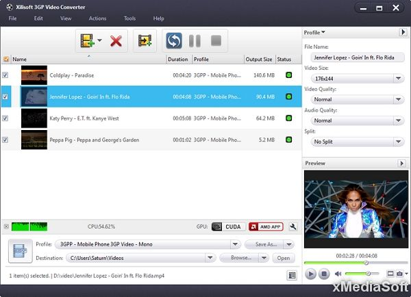 Xilisoft 3GP Video Converter Скриншот