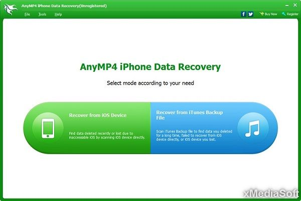 AnyMP4 iPhone Data Recovery Скриншот