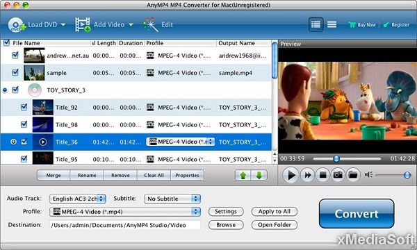 AnyMP4 MP4 Converter for Mac - Конвертер видео в MP4 формат